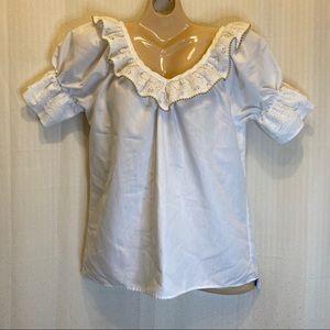 Rock mount ranch wear white square dance blouse
